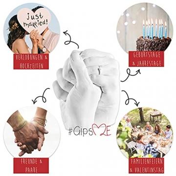GipsME 3D Handabdruck Set für Paare - Alginat Gipsabdruckset - Partner und Pärchen Geschenke für Erwachsene als Muttertag, Hochzeitstag, Jahrestag-Geschenk für Sie und Ihn - 3