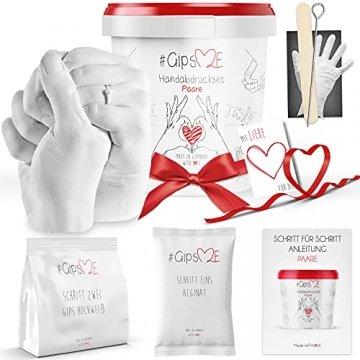 GipsME 3D Handabdruck Set für Paare - Alginat Gipsabdruckset - Partner und Pärchen Geschenke für Erwachsene als Muttertag, Hochzeitstag, Jahrestag-Geschenk für Sie und Ihn - 1