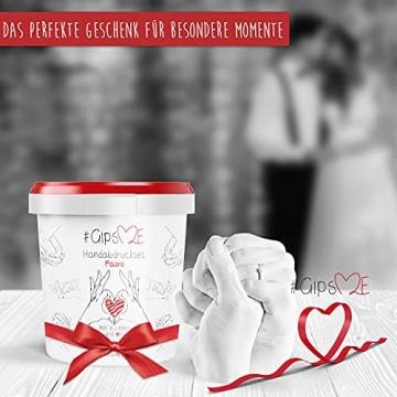 GipsME 3D Handabdruck Set für Paare - Alginat Gipsabdruckset - Partner und Pärchen Geschenke für Erwachsene als Muttertag, Hochzeitstag, Jahrestag-Geschenk für Sie und Ihn - 6