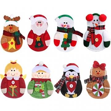 Gohist 8 Stücke Weihnachten Besteckhalter Küchenbesteck Weihnachtsmann Besteckbeutel Taschen Messer Gabeltasche,8 Verschiedene geformt Weihnachten tischdeko Besteck Party Dekoration - 3