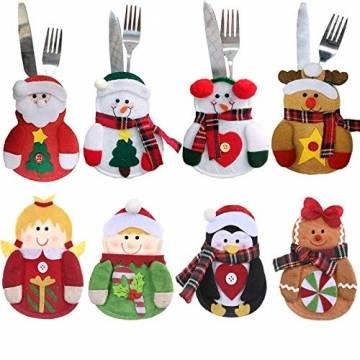 Gohist 8 Stücke Weihnachten Besteckhalter Küchenbesteck Weihnachtsmann Besteckbeutel Taschen Messer Gabeltasche,8 Verschiedene geformt Weihnachten tischdeko Besteck Party Dekoration - 1