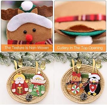 Gohist 8 Stücke Weihnachten Besteckhalter Küchenbesteck Weihnachtsmann Besteckbeutel Taschen Messer Gabeltasche,8 Verschiedene geformt Weihnachten tischdeko Besteck Party Dekoration - 5