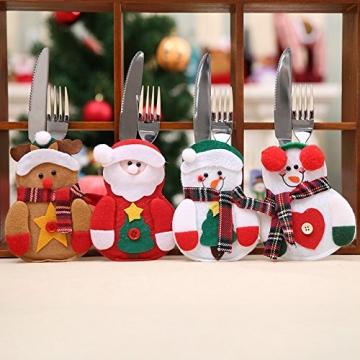 Gohist 8 Stücke Weihnachten Besteckhalter Küchenbesteck Weihnachtsmann Besteckbeutel Taschen Messer Gabeltasche,8 Verschiedene geformt Weihnachten tischdeko Besteck Party Dekoration - 7