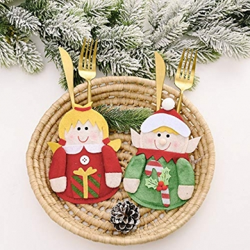 Gohist 8 Stücke Weihnachten Besteckhalter Küchenbesteck Weihnachtsmann Besteckbeutel Taschen Messer Gabeltasche,8 Verschiedene geformt Weihnachten tischdeko Besteck Party Dekoration - 8
