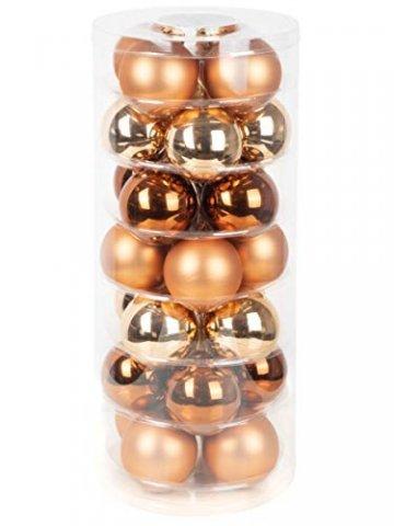Goldschmidt Weihnachtskugeln Kugeldose 28 TLG 6cm | Christbaumkugeln aus Glas | Kugelbox mit 28 Kugeln (Winter Toffee (braun Kupfer)) - 1