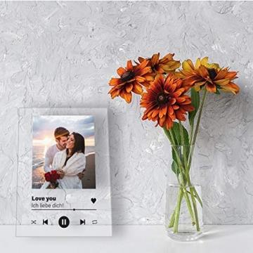 GRAVURZEILE Song Cover Glas Foto mit Bild + Titel und Musikalbum - Geschenk für Sie & Ihn - Geschenk für Frauen & Männer - Personalisierte Geschenke - 2