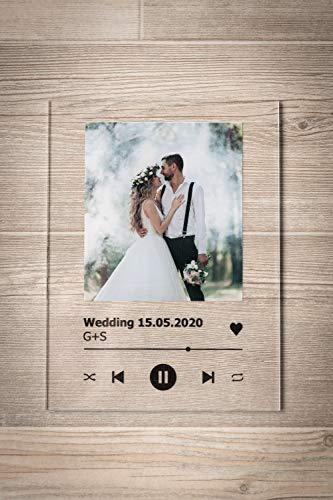GRAVURZEILE Song Cover Glas Foto mit Bild + Titel und Musikalbum - Geschenk für Sie & Ihn - Geschenk für Frauen & Männer - Personalisierte Geschenke - 4