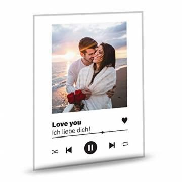 GRAVURZEILE Song Cover Glas Foto mit Bild + Titel und Musikalbum - Geschenk für Sie & Ihn - Geschenk für Frauen & Männer - Personalisierte Geschenke - 1