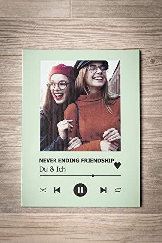 GRAVURZEILE Song Cover Glas Foto mit Bild + Titel und Musikalbum - Geschenk für Sie & Ihn - Geschenk für Frauen & Männer - Personalisierte Geschenke - 5