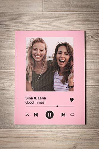 GRAVURZEILE Song Cover Glas Foto mit Bild + Titel und Musikalbum - Geschenk für Sie & Ihn - Geschenk für Frauen & Männer - Personalisierte Geschenke - 6
