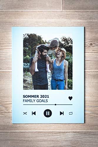 GRAVURZEILE Song Cover Glas Foto mit Bild + Titel und Musikalbum - Geschenk für Sie & Ihn - Geschenk für Frauen & Männer - Personalisierte Geschenke - 7