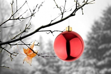 Große Weihnachtskugeln Christbaumkugel rot glänzend 25 cm Durchmesser. Hochwertig für Innen und wetterfest für Aussenbereich. Mit Stahlring zur einfachen und wiederverwendbaren Befestigung - 2
