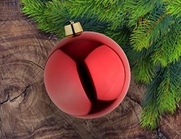 Große Weihnachtskugeln Christbaumkugel rot glänzend 25 cm Durchmesser. Hochwertig für Innen und wetterfest für Aussenbereich. Mit Stahlring zur einfachen und wiederverwendbaren Befestigung - 4