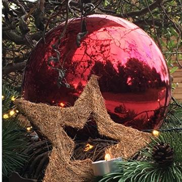 Große Weihnachtskugeln Christbaumkugel rot glänzend 25 cm Durchmesser. Hochwertig für Innen und wetterfest für Aussenbereich. Mit Stahlring zur einfachen und wiederverwendbaren Befestigung - 5
