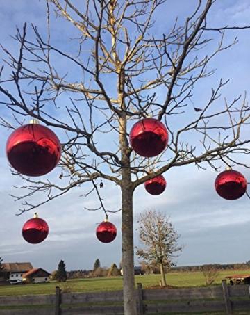 Große Weihnachtskugeln Christbaumkugel rot glänzend 25 cm Durchmesser. Hochwertig für Innen und wetterfest für Aussenbereich. Mit Stahlring zur einfachen und wiederverwendbaren Befestigung - 7