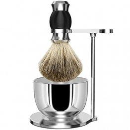 GRUTTI Premium Rasierpinsel Set,LuxusPinselständer Seifenschale und Dachshaar Rasierpinsel Geschenk Rasiersets für Männer-Schwarz - 1