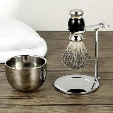 GRUTTI Premium Rasierpinsel Set,LuxusPinselständer Seifenschale und Dachshaar Rasierpinsel Geschenk Rasiersets für Männer-Schwarz - 7