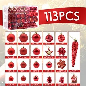 HAIGOU 113 Weihnachtskugeln Christbaumschmuck Aufhänger Christbaumkugeln für den Weihnachtsbaum Weihnachtsbaumschmuck Weihnachtsbaumkugeln (Rot) - 2