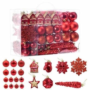 HAIGOU 113 Weihnachtskugeln Christbaumschmuck Aufhänger Christbaumkugeln für den Weihnachtsbaum Weihnachtsbaumschmuck Weihnachtsbaumkugeln (Rot) - 1