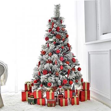 HAIGOU 113 Weihnachtskugeln Christbaumschmuck Aufhänger Christbaumkugeln für den Weihnachtsbaum Weihnachtsbaumschmuck Weihnachtsbaumkugeln (Rot) - 5