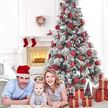 HAIGOU 113 Weihnachtskugeln Christbaumschmuck Aufhänger Christbaumkugeln für den Weihnachtsbaum Weihnachtsbaumschmuck Weihnachtsbaumkugeln (Rot) - 6