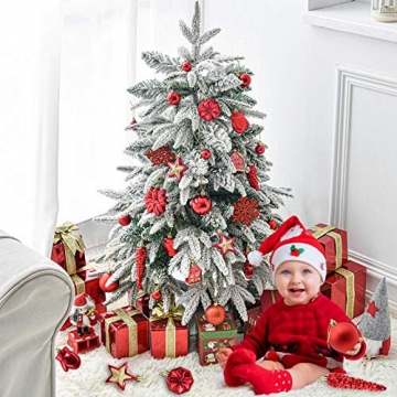 HAIGOU 113 Weihnachtskugeln Christbaumschmuck Aufhänger Christbaumkugeln für den Weihnachtsbaum Weihnachtsbaumschmuck Weihnachtsbaumkugeln (Rot) - 7