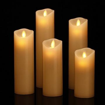 HANZIM LED Kerzen,Flammenlose Kerzen 250 Stunden Dekorations-Kerzen-Säulen im 5er Set.Realistisch flackernde LED-Flammen 10-Tasten Fernbedienung mit 24 Stunden Timer-Funktion (Ivory) - 2