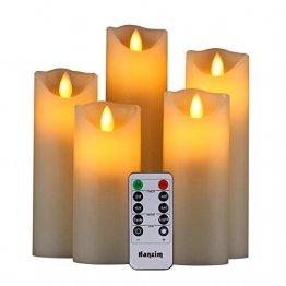 HANZIM LED Kerzen,Flammenlose Kerzen 250 Stunden Dekorations-Kerzen-Säulen im 5er Set.Realistisch flackernde LED-Flammen 10-Tasten Fernbedienung mit 24 Stunden Timer-Funktion (Ivory) - 1
