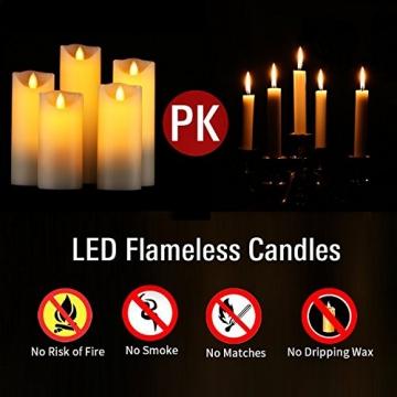 HANZIM LED Kerzen,Flammenlose Kerzen 250 Stunden Dekorations-Kerzen-Säulen im 5er Set.Realistisch flackernde LED-Flammen 10-Tasten Fernbedienung mit 24 Stunden Timer-Funktion (Ivory) - 5