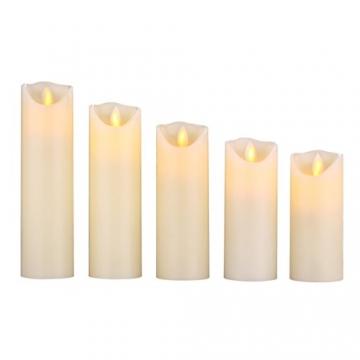 HANZIM LED Kerzen,Flammenlose Kerzen 250 Stunden Dekorations-Kerzen-Säulen im 5er Set.Realistisch flackernde LED-Flammen 10-Tasten Fernbedienung mit 24 Stunden Timer-Funktion (Ivory) - 6