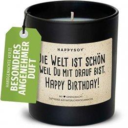 Happy Birthday Duftkerze im Glas mit Spruch aus Soja - 100% natürlich handgemacht, nachhaltig persönlich Geschenk Geschenkidee beste Freundin Freund Mama Papa Birthday Freude Liebe Glück verschenken - 1