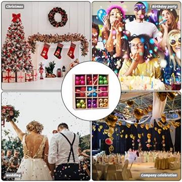 HBHS Christbaumkugeln, Suddefr Weihnachtskugel, 99 Teilig, 3CM, Weihnachtsbaumschmuck, Kunststoff, Baumschmuck für Urlaub, Hochzeit, Partydekoration. - 7