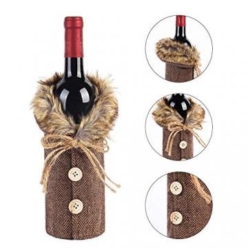 Heatigo Weihnachten Weinflaschen Taschen, Weihnachten Weinflasche Cover, 2 Stück für Weihnachten, Partys, Tisch Dekorationen, Geschenke - 3