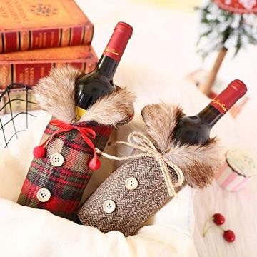 Heatigo Weihnachten Weinflaschen Taschen, Weihnachten Weinflasche Cover, 2 Stück für Weihnachten, Partys, Tisch Dekorationen, Geschenke - 4