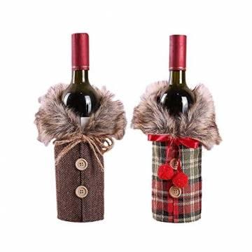 Heatigo Weihnachten Weinflaschen Taschen, Weihnachten Weinflasche Cover, 2 Stück für Weihnachten, Partys, Tisch Dekorationen, Geschenke - 1