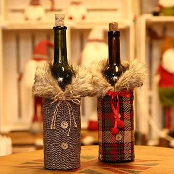 Heatigo Weihnachten Weinflaschen Taschen, Weihnachten Weinflasche Cover, 2 Stück für Weihnachten, Partys, Tisch Dekorationen, Geschenke - 5