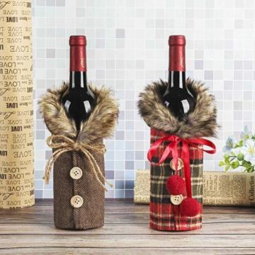 Heatigo Weihnachten Weinflaschen Taschen, Weihnachten Weinflasche Cover, 2 Stück für Weihnachten, Partys, Tisch Dekorationen, Geschenke - 6