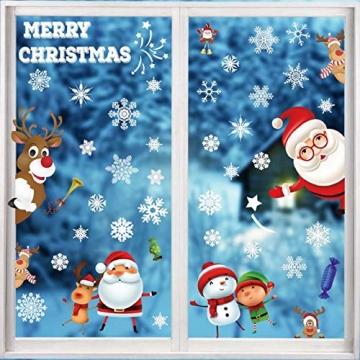 heekpek 3 Sätze Fensterbilder Weihnachten Fensterbilder Winter Wiederverwendbar Schneeflocken Fensteraufkleber Statisch Selbstklebend Wand Aufkleber Spähen des Elche Süße Weihnachtsmann Türaufkleber - 2