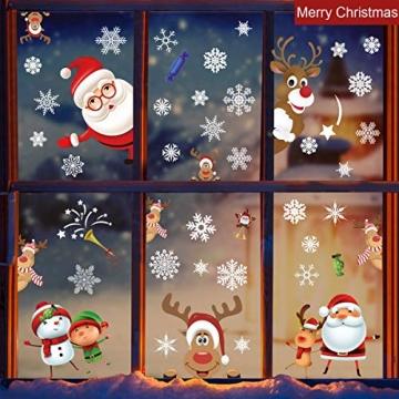 heekpek 3 Sätze Fensterbilder Weihnachten Fensterbilder Winter Wiederverwendbar Schneeflocken Fensteraufkleber Statisch Selbstklebend Wand Aufkleber Spähen des Elche Süße Weihnachtsmann Türaufkleber - 3