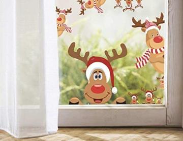 heekpek 3 Sätze Fensterbilder Weihnachten Fensterbilder Winter Wiederverwendbar Schneeflocken Fensteraufkleber Statisch Selbstklebend Wand Aufkleber Spähen des Elche Süße Weihnachtsmann Türaufkleber - 4
