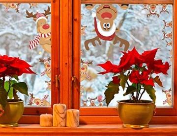 heekpek 3 Sätze Fensterbilder Weihnachten Fensterbilder Winter Wiederverwendbar Schneeflocken Fensteraufkleber Statisch Selbstklebend Wand Aufkleber Spähen des Elche Süße Weihnachtsmann Türaufkleber - 5