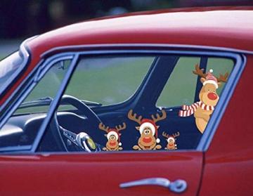 heekpek 3 Sätze Fensterbilder Weihnachten Fensterbilder Winter Wiederverwendbar Schneeflocken Fensteraufkleber Statisch Selbstklebend Wand Aufkleber Spähen des Elche Süße Weihnachtsmann Türaufkleber - 6