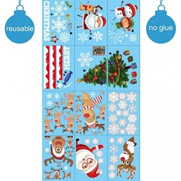 heekpek 3 Sätze Fensterbilder Weihnachten Fensterbilder Winter Wiederverwendbar Schneeflocken Fensteraufkleber Statisch Selbstklebend Wand Aufkleber Spähen des Elche Süße Weihnachtsmann Türaufkleber - 7