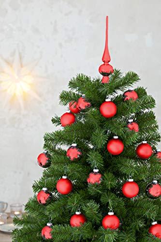 HEITMANN DECO 21er Set Glaskugeln+ Baumspitze - Weihnachtsbaumschmuck zum Aufhängen - Christbaumkugeln - Rot - Glitzer - 4