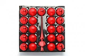 HEITMANN DECO 21er Set Glaskugeln+ Baumspitze - Weihnachtsbaumschmuck zum Aufhängen - Christbaumkugeln - Rot - Glitzer - 1