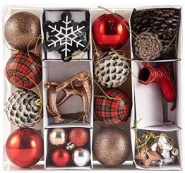 HEITMANN DECO 31er Set Christbaumkugeln Sortiment - Weihnachtsschmuck zum Aufhängen - Kunststoff Christbaumschmuck rot Natur Silber - 1