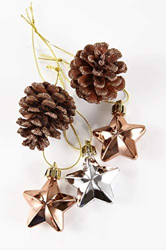 HEITMANN DECO 31er Set Christbaumkugeln Sortiment - Weihnachtsschmuck zum Aufhängen - Kunststoff Christbaumschmuck rot Natur Silber - 6