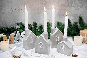Heitmann Deco Advents-Kerzenhalter - Häuschen - 4er Set - Keramik - zum Hinstellen - Weihnachtsdeko - grau,weiß - ca. 16,5 x 11 x 6,5 cm - 2