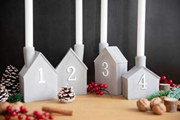 Heitmann Deco Advents-Kerzenhalter - Häuschen - 4er Set - Keramik - zum Hinstellen - Weihnachtsdeko - grau,weiß - ca. 16,5 x 11 x 6,5 cm - 3