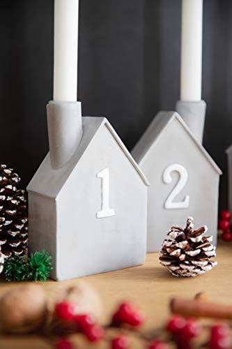 Heitmann Deco Advents-Kerzenhalter - Häuschen - 4er Set - Keramik - zum Hinstellen - Weihnachtsdeko - grau,weiß - ca. 16,5 x 11 x 6,5 cm - 4